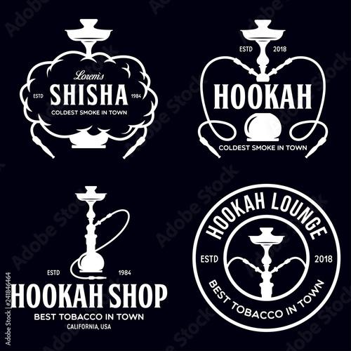 Set of hookah labels, badges and design elements  Hookah