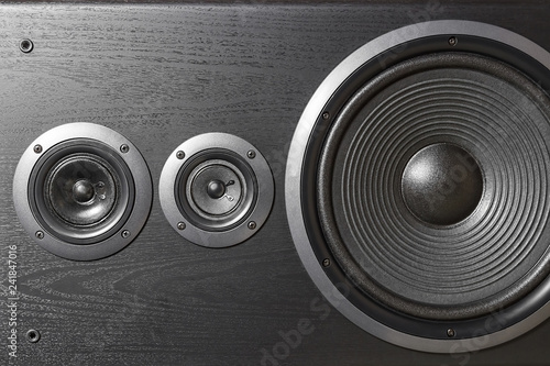 Spoed Foto op Canvas Muziekwinkel High quality loudspeakers. Hifi sound system in shop for sound recording studio. Professional hi-fi cabinet speaker box. Audio equipment for record studios. Buy dj equip in music store