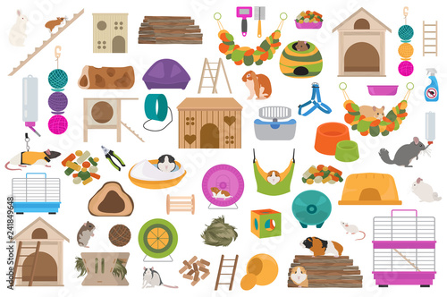 Pet rodents home accessories icon set flat style isolated on