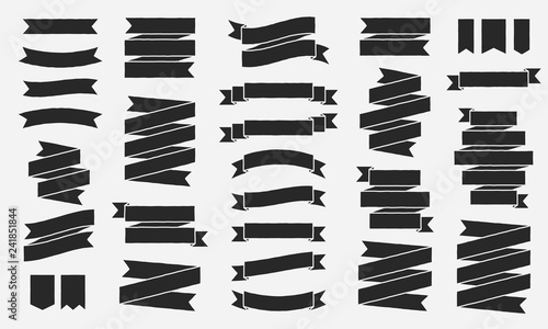 Fototapety, obrazy: Classic vintage ribbons banners isolated on White background. Black tapes with roughen effect. Set of 30 black ribbons banners. Design elements. Vector illustration