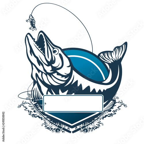 Fotografie, Obraz  Pike fishing emblem