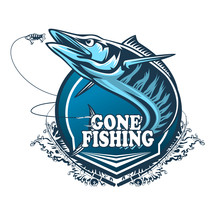 Wahoo Fish. Fishing Logo Vector. Acanthocybium Solandri. Scombrid Fish Jumping Up Fishing Emblem On White Background.
