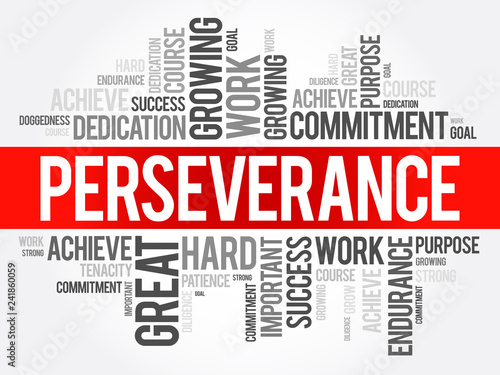 Fototapeta Perseverance word cloud collage, business concept background