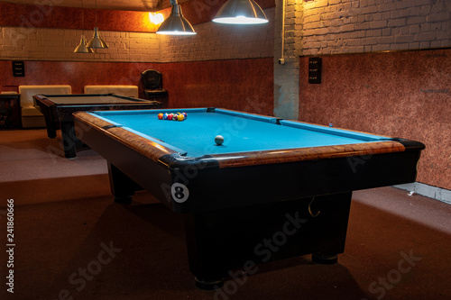 Fotografie, Obraz Billiard Balls and Table