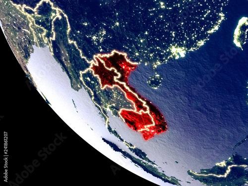 Foto  Orbit view of Indochina at night with bright city lights