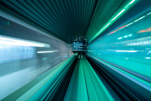 Motion Blur From Yurikamome Line Moving Inside Tunnel In Tokyo, Japan