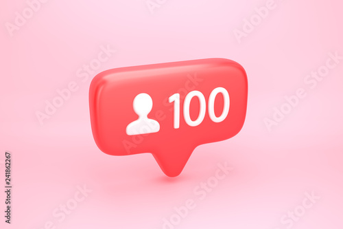Fotografie, Obraz  One hundred friends or followers social media notification with heart icon