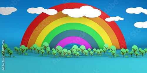 Papiers peints Avion, ballon Rainbow Sky and Trees