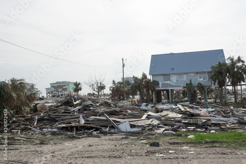 Photo Debris and Destroyed Buildings on Gulf Coast in the Aftermath of Hurricane Micha