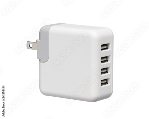 Fototapeta Usb wall charger plug (with clipping path) isolated on white background