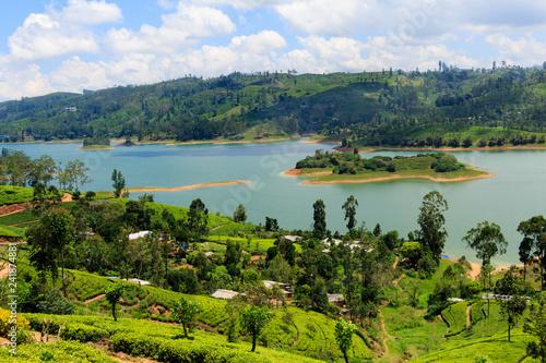Printed kitchen splashbacks River Sri Lanka Hill country landscape. Tea plantations and lake scenery. Nature scenery on bright, sunny day.