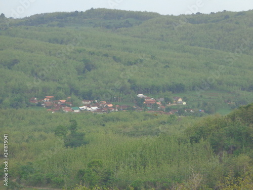 Spoed Foto op Canvas Khaki Beautiful Village In The Middle Of The Teak Forest