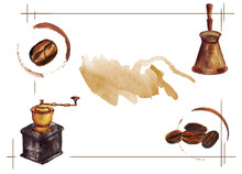 Watercolor Hand Drawn Coffee Beans With Cup Trace, Vintage Coffee Grinder, Jezve Pot. Isolated Food Illustration In Frame On White Background. Space For Text