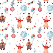 Watercolor Circus Vector Pattern