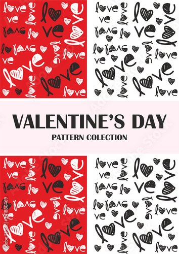 Valentines day red, black, pattern collection