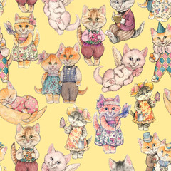 Design of the seamless pattern. Fairy-tale cat drawn by hand watercolor