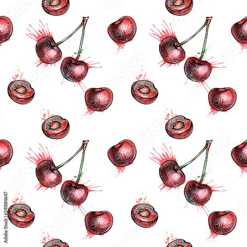 fototapeta na szkło cherry seamless pattern