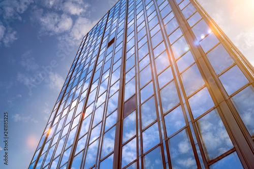 Fotobehang Stad gebouw Hochhaus Wolkenkratzer mit Gegenlicht