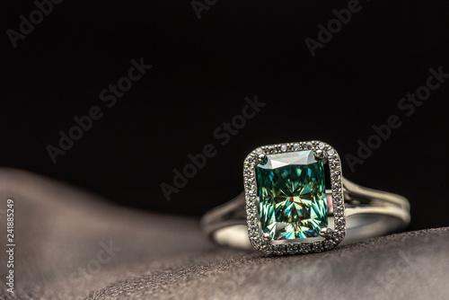 Valokuva  Emerald Engagement Ring. Blue Diamond
