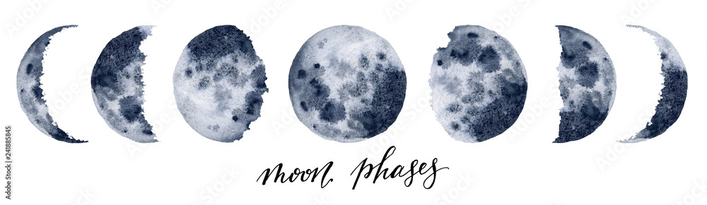 Fototapety, obrazy: Watercolor moon phases. Hand painted various phases isolated on white background. Hand drawn modern space design for print.