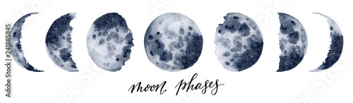 Watercolor moon phases Fotobehang