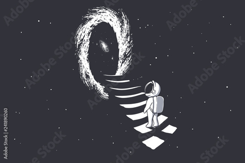an astronaut climbs the stairs into wormhole