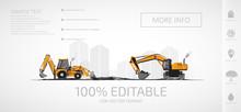 Construction Equipment, Excavators.