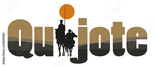 The word Spain with the draw of Don Quixote de la Mancha silhouette, of Cervante Wallpaper Mural