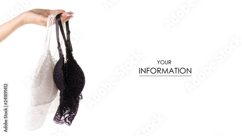 Obraz White black lace bra lace in hand pattern on white background isolation - fototapety do salonu