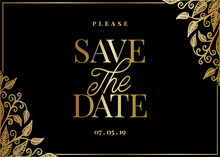 Gold Leaves Save The Date Card Template