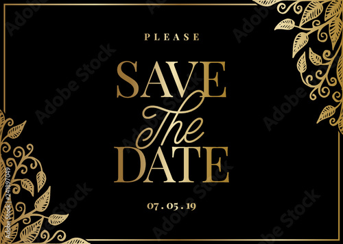 Gold Leaves Save the Date Card Template Canvas Print