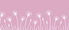 Seamless Border With White Dandelions On A Pink Background. Vector Illustration