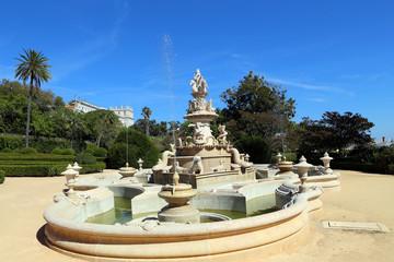 Magnificent fountain in Ajuda botanical garden, Lisbon
