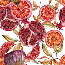 Beautiful Watercolor Seamless Pattern With Fruits And Flowers Of Pomegranate