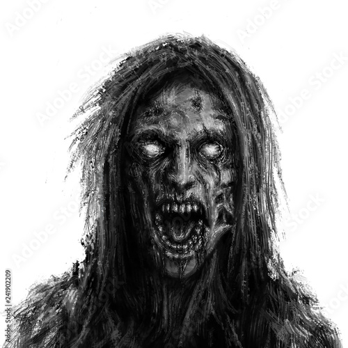 Fotografia Scary zombie woman face on white background. I