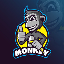 Monkey Mascot Logo Design Vector With Modern Illustration Concept Style For Badge, Emblem And Tshirt Printing. Smart Monkey Illustration With A Banana In Hand.