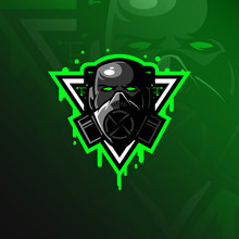 Toxic Mascot Logo Design Vector With Modern Illustration Concept Style For Badge, Emblem And Tshirt Printing. Head Toxic Illustration.