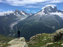 Hiker Looking At Glacier Argentiere