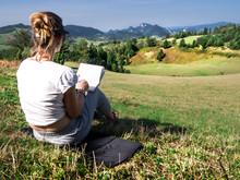 Woman Artist Working Outdoors ...