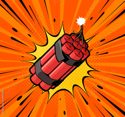 Dynamite bomb explosion with burning wick detonate. Retro pop art style. Cartoon comic vector illustration
