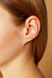 canvas print picture - Detail of the head with female human ear and hair close up