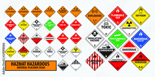 Fotografie, Obraz  hazmat hazardous material placards sign concept. easy to modify