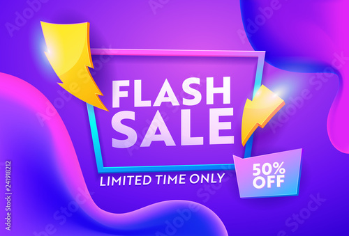 Obraz Flash Sale Purple Gradient Horizontal Poster. Online Ecommerce Discount Promotion Typography Template. Lightning Symbol on Closeout Colorful Badge Banner Design Vector Illustration - fototapety do salonu