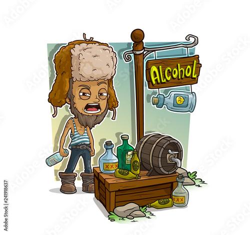 Fotografie, Obraz  Cartoon homeless alcoholic and alcohol shop