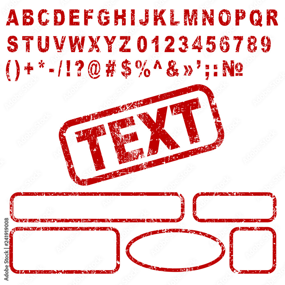 Fotografía Set red letters, numbers and frames stamp – stock vector