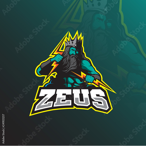 Photo  zeus mascot logo design vector with modern illustration concept style for badge, emblem and tshirt printing