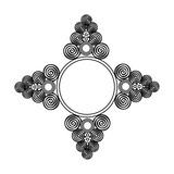 folk folklor vintage symbol ramka gwiazda strzałka etykieta czarny biały wzór