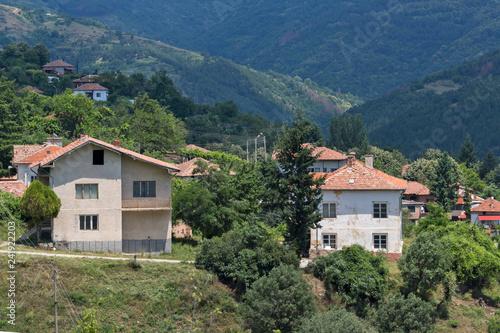Spoed Foto op Canvas Khaki Panorama with village of Gega and Ograzhden Mountain, Blagoevgrad Region, Bulgaria