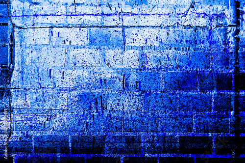Fotografía  Blue-Black-White Aged Grunge Wall Background