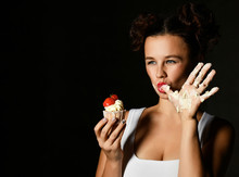 Young Woman Chef Cook Hold Swe...